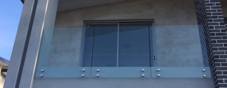 Glass balustrades on balcony
