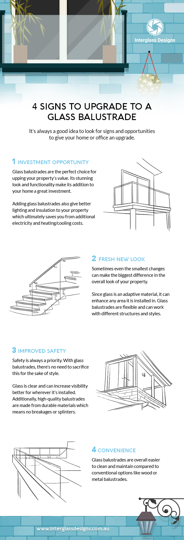 4 signs to upgrade to a glass balustrade infographic