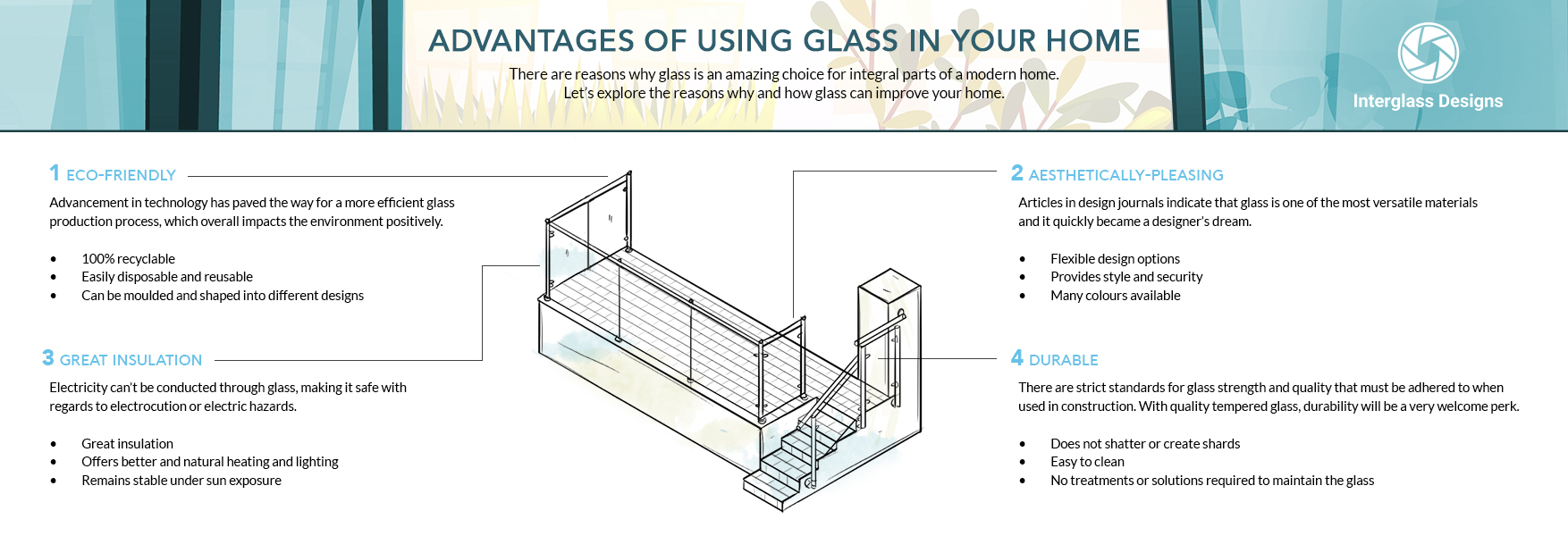 Advantages of using glass in your home infographic