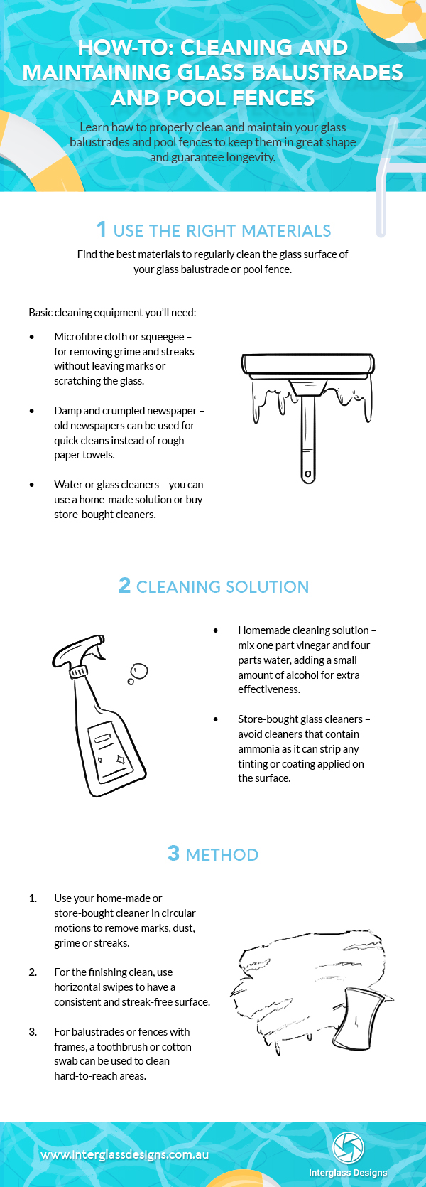 How to clean and maintain glass balustrade and pool fence infographic